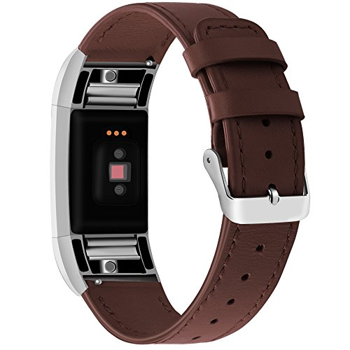 iGK Leather Replacement Bands Compatible for Fitbit Charge 2, Genuine Leather Wristbands New Flat-end Brown with Metal Connectors