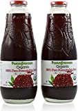 100% Pomegranate Juice - 2 Pack - 33.8 fl oz - USDA Organic Certified - Glass Bottle - No Sugar Added - No Preservatives - Squeezed From Fresh Pomegranates