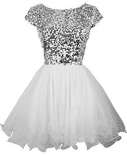 Sarahbridal Junior's Short Homecoming Dresses 2018 Sequin Prom Cocktail Gowns White US2 (Dresses Teen Homecoming)