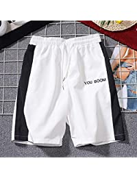 ZXHHL Black and White Contrast Color Shorts Embroidered Sweatpants Drawstring Beach Casual Pants