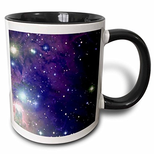3dRose Cool Outer Space Stars and Planets Dark Blue Design Science Fiction Sci-Fi Geek Astronomy Nerd Two Tone Black Mug, 11 oz, Black/White (Sci Mug Geek Fi)