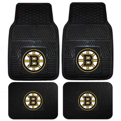 Officially Licensed NHL Universal Fit Molded Front and Rear Rubber Floor Mats - Boston Bruins