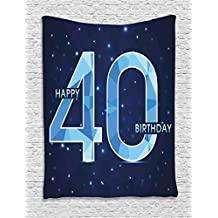 40th Birthday Decorations Tapestry by Ambesonne, Abstract Modern Design Geometrical Number Forty Emblem, Wall Hanging for Bedroom Living Room Dorm, 40WX60L Inches, Dark Blue Light Blue