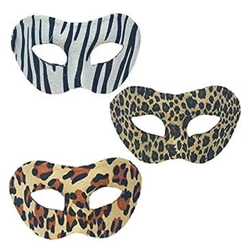Lote/Conjunto de 6 Piezas - Terciopelo Mezcla Máscara de Lobo Cebra Leopardo de la