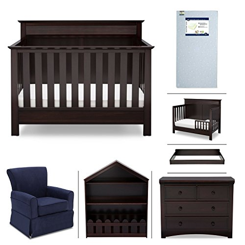Crib Furniture - 7 Piece Nursery Set with Crib Mattress, Convertible Crib, Dresser, Bookcase, Glider Chair, Changing Top, Toddler Rail, Serta Fall River - Brown/Navy