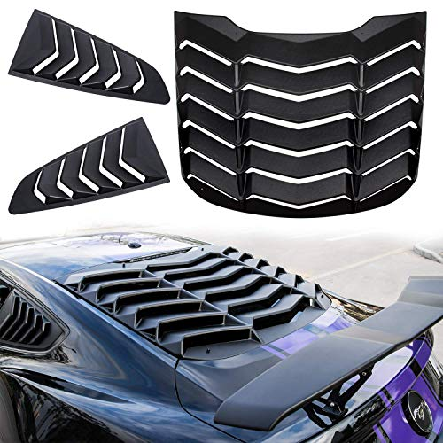 Danti Matte Black Rear and Side Window Louvers Sun Shade Cover in GT Lambo Style For Ford Mustang 2015 2016 2017 - Louver Ford Window Mustang Rear
