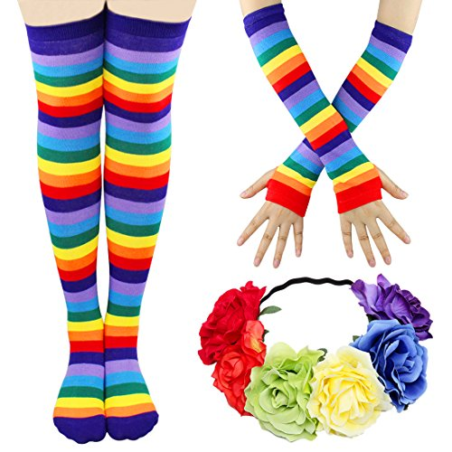 Gloves Striped Nylon (JINSEY Womens Rainbow Striped Knee High Socks and Gloves Costumes with Flower Headband)