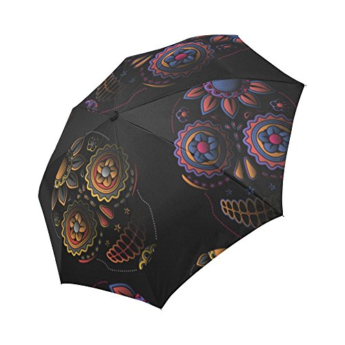 Silly Meow Sugar Skull Automatic Foldable Umbrellas Polyester Pongee Waterproof Fabric Umbrellas