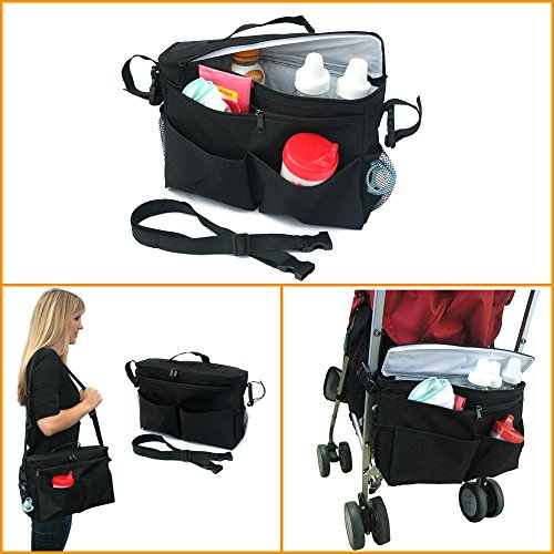 Hiltow Insulated Stroller Bag And Backseat Organizer/Bag Keeps Drinks Cool