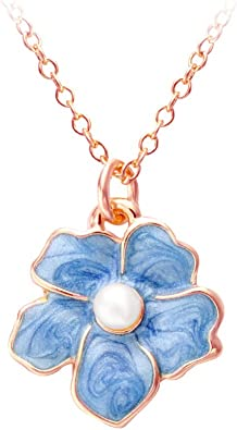 Mother-of-pearl heart charm necklace with tiny vintage forget-me-knot blue glass flower on sterling silver chain