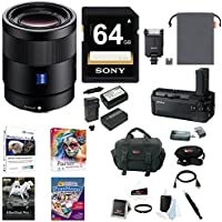 Sony 55mm F1.8 Sonnar T FE ZA Lens, HVLF20M Flash, VGC1EM Battery Grip Bundle