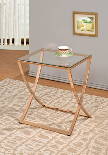 - Gold Finish Metal Glass Chair Side End Table