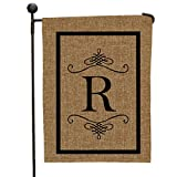 "Cheap Double Sided Burlap Garden Flag Black Initial R Monogram, 12 1/2"" w x 18"" h, All Weather"