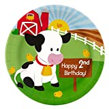 Farm Animal Party Supplies - 2nd Birthday Dinner Plates (8)