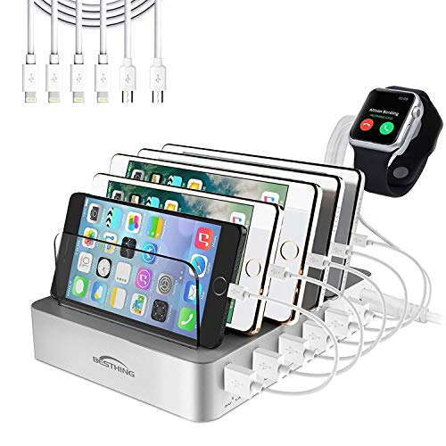 BESTHING Fast Charging Station, 6 Port USB Charging Station, Desktop Charging Stand Organizer, Phone Docking Station Removable Baffles Compatible for iPhone, iPad, Samsung, Tablet, Kindle (Silver)