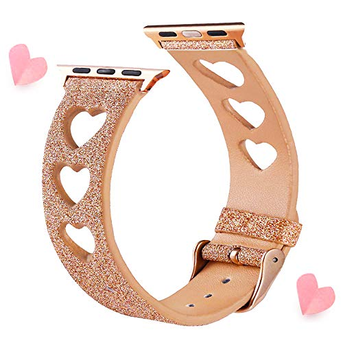EurCross Glitter Band Compatible for Apple Watch Band 38mm 40mm Series 4 Series 3 Series 2 Series 1, Shiny Leather Fashion Women iWatch Wristband Watch Strap with Rose Gold Buckle (Rose Gold)