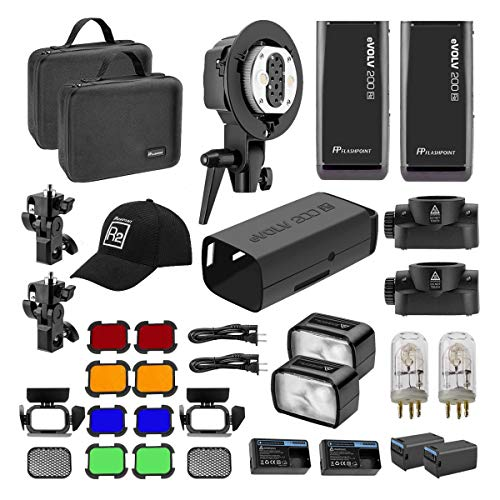 Flashpoint eVOLV 200 TTL Pocket Flash Dual Head Pro Kit - Adorama Exclusive Kit - Flash Head Kit
