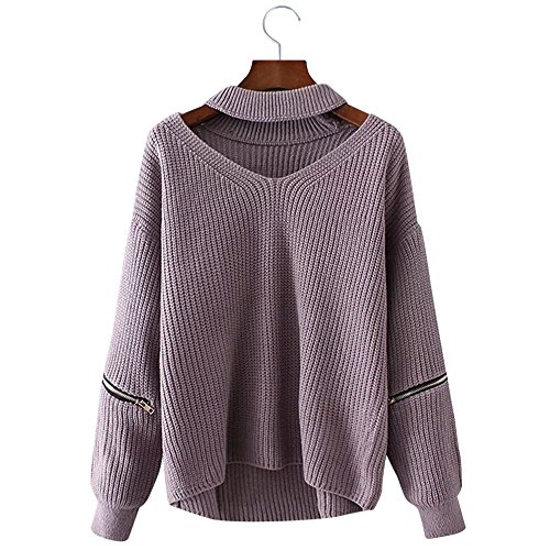 BeautyGal+Women+Halter+Loose+Knitted+Chunky+Choker+Pullover+Sweater%28Light+Purple%29