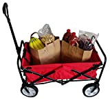 SECO Heavy Duty Folding Utility Wagon Wheelbarrow Garden Cart Sports Cart Shopping Buggy , Red, 220 lb capacity