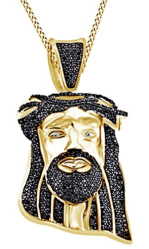 Round Cut Black Cubic Zirconia Jesus Head Hip Hop Pendant in 14k Yellow Gold Over Sterling Silver (0.9 Cttw) by AFFY