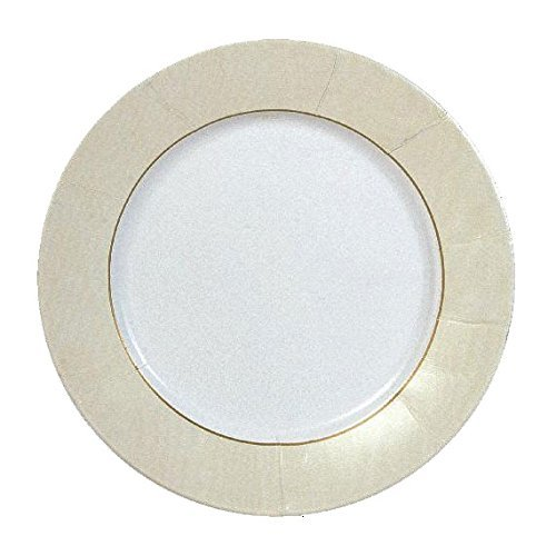 Entertaining with Caspari Moire Salad/Dessert Plates (8 Pack), Ivory - Moire Luncheon Napkin