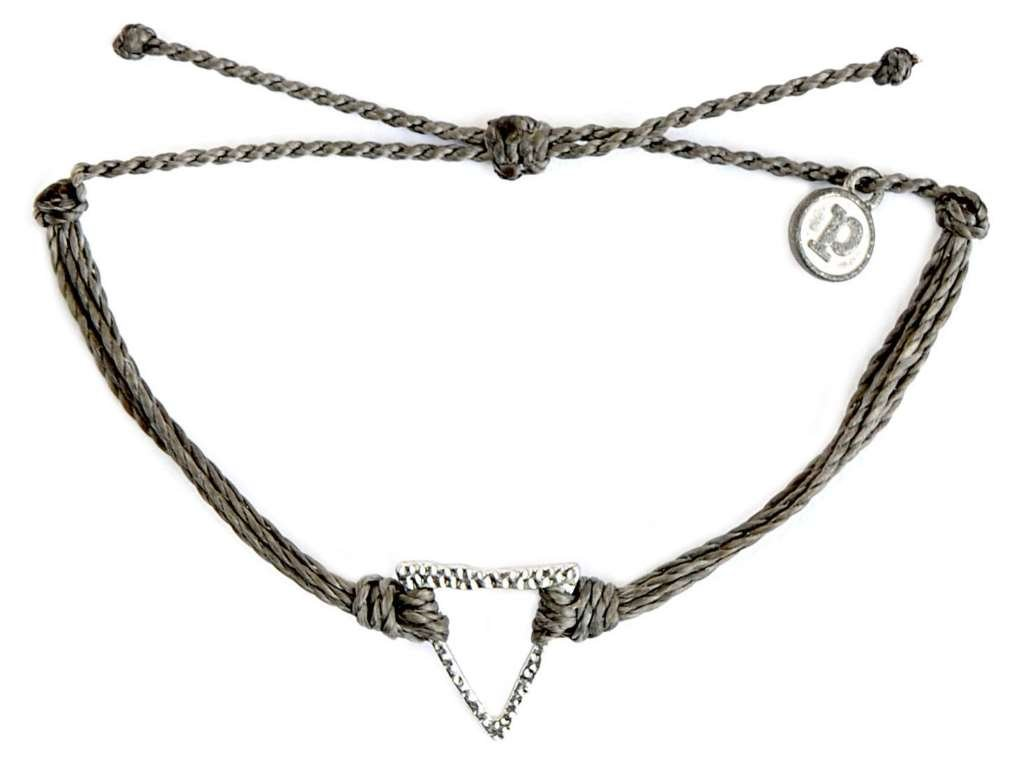 Pura Vida Silver Hammered Triangle Dark Grey Bracelet - Silver Plated Charm, Adjustable Band - 100% Waterproof