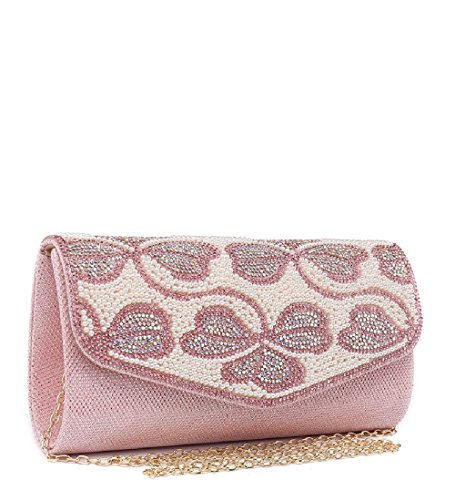 White Party Envelope Women's Evening Clutch Glitter Purse Pearl ME68022 Ladies Bag Handbag SaPxqUwPR