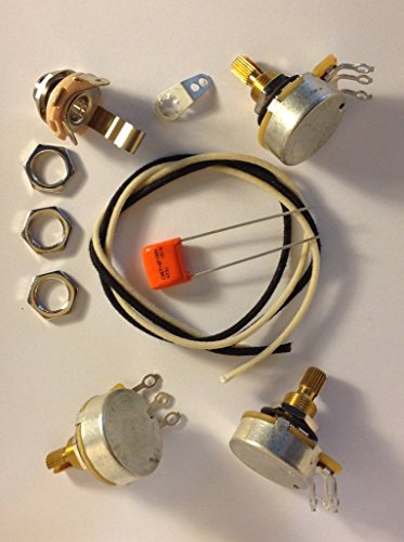 Wiring Harness Kit For J Bass 500k CTS 450G Knurled Pots .047uf 716P Orange Drop Cap by Axegrinderz Guitar Tone Products