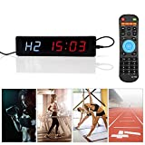 Interval Timer Clock Programmable LED Display with Remote for Gym Fitness Training,DC 5V with Power Adapter