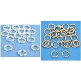 Sterling Silver & 14k Gold Filled Split Rings Findings Connectors Kit 50 Pcs