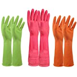 Allergic Reaction to Laundry Detergent Household Rubber Latex Cleaning Gloves  PEGZOS Reusable Kitchen Natural Rubber Living Wash Gloves, Mother's Day Gifts, with 3 Colors (Green, Orange, Pink) / 3 Sizes (Small, Medium, Large)(L)