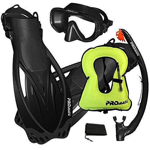 Promate Snorkeling Vest Jacket Dive Mask Fins Snorkel Set- Black-MLXL