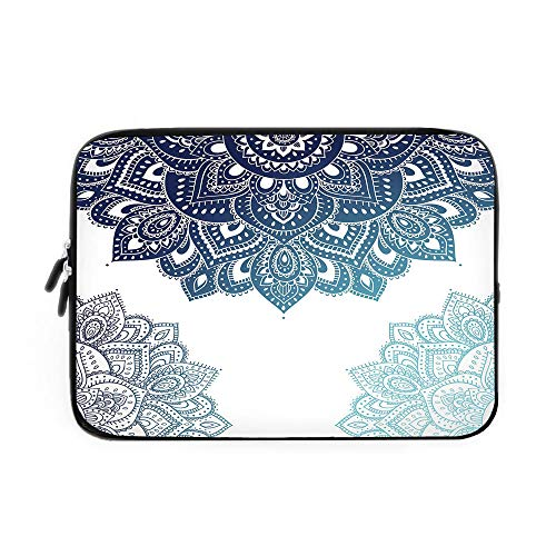 Henna Laptop Sleeve Bag,Neoprene Sleeve Case/South Asian Mandala Design with Vibrant Color Ornamental Ethnic Illustration Decorative/for Apple MacBook Air Samsung Google Acer HP DELL Lenovo A