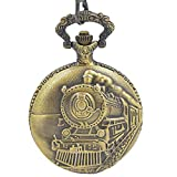 ShoppeWatch Pocket Watch with Chain Goldtone Railroad Train Full Hunter Locomotive Steampunk Design PW-34