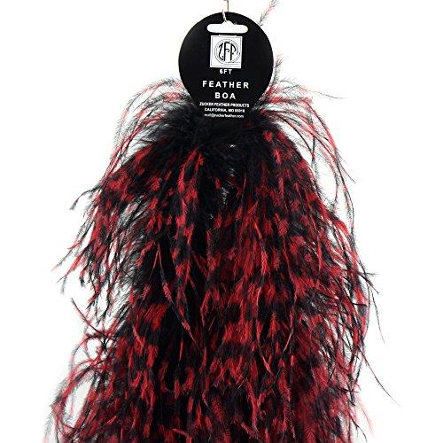 6 feet Black White ZUCKER Ostrich Feather Boa Feather Scarf Costume Flapper Accessory Stenciled Black