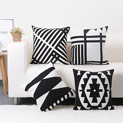 black and white decorative pillows