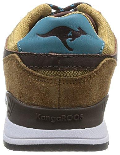 Kangaroos Frenzy Roos 002 B - Zapatillas de Deporte de otras pieles hombre Beige - Beige (Dk Wheat/Dk Smaragd 148)