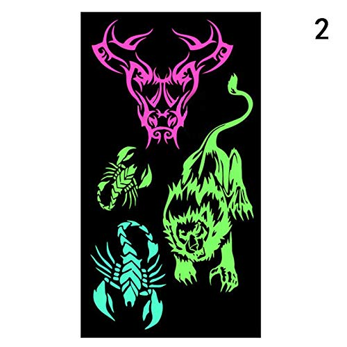 SaveStore 1pcs Fashion Beauty Tattoo Stickers Halloween Fluorescence Tattoo Stickers Color Water-Proof Luminous Tattoo Stickers 10.519cm
