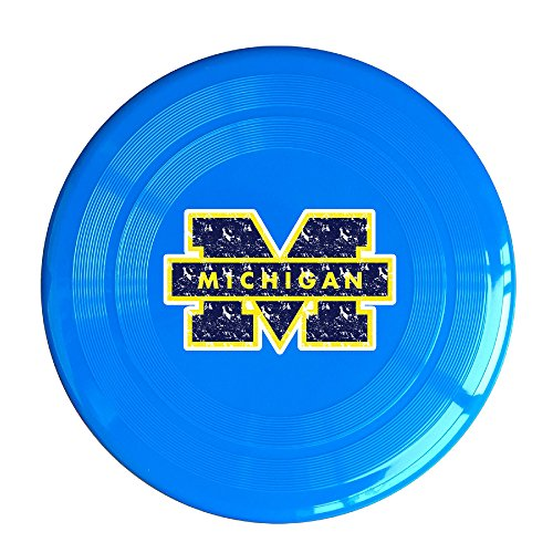 Michigan Wolverines Logo Flying Disc, Throw Disc, Resistant Disc, Frisbee, Small Medium Large Sized Dogs Pet Specially Toy Outdoor Sport Game Soft Edge Plastic Special Scratch 9.06in RoyalBlue