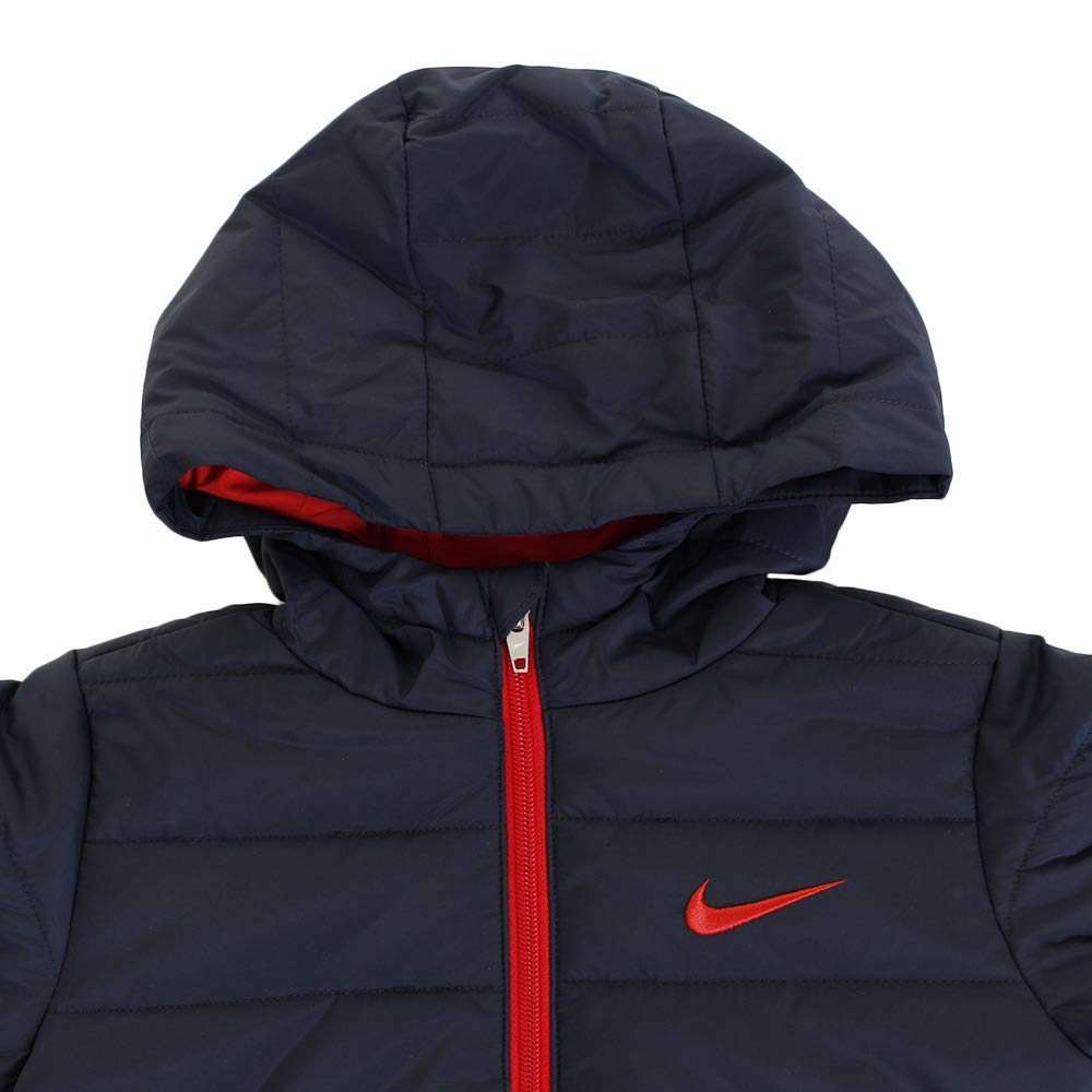 Nike Kids Boy's Quilted Jacket (Little Kids) Obsidian/University Red 4 US Little Kid by Nike (Image #3)