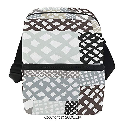 SCOCICI Thermal Insulation Bag Mixed Patchwork Stylized Trippy Abstract Figures with Formless Color Lines Design Lunch Bag Organizer for Women Men Girls Work School Office Outdoor -