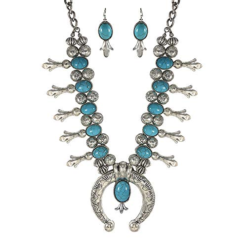 (Turquoise Vintage Squash Blossom Metal Statement Necklace/w Earrings No.96)