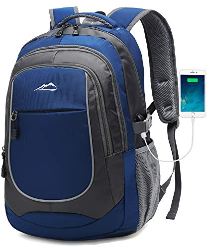 Backpack for School Bookbag College Student Travel Business Hiking Fit Laptop Up to 15.6 Inch Lightweight Night Light Reflective (Blue)