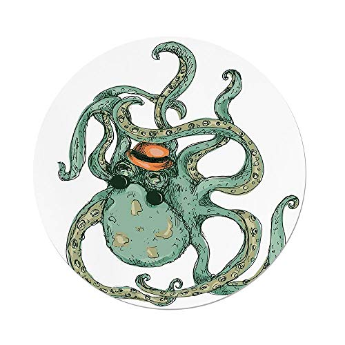 nd Tablecloth,Octopus Decor,Cartoon Hipster Octopus Hat Sketch Art Illustration Sea Creature Retro Style Decor,White Green,Dining Room Kitchen Picnic Table Cloth Cover Outdoor I ()