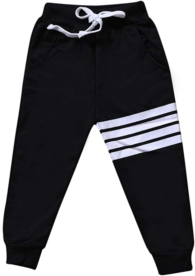 CuteOn 3 Pack Toddler Boys Girls Harem Pants Elastic Autumn Trousers Striped Pants
