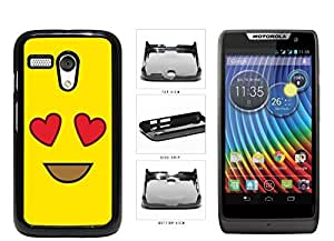 Bright Yellow Heart Eyes Smiley Face Plastic Phone Case Back Cover Moto G
