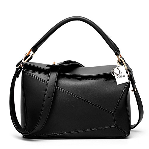 - Yoome Women's Faux Leather Casual Tote Bag Boston Shoulder Bag Contrast Color Ipad Purses and Handbags - Black