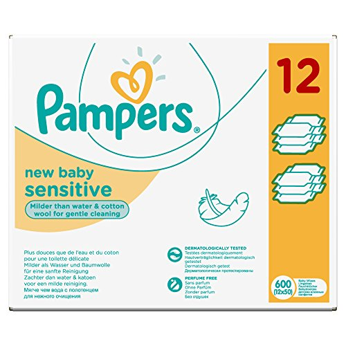 Pampers Feuchttücher New Baby Sensitive Vorteilspack, 600 Stück