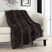 "Chic Home Elana Shaggy Faux Fur Supersoft Ultra Plush Decorative Throw Blanket, 50 x 60"", Brown"
