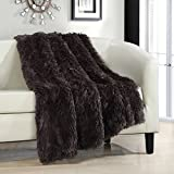 "Chic Home Elana Shaggy Faux Fur Supersoft Ultra Plush Decorative Throw Blanket, 50 x 60"", Brown"